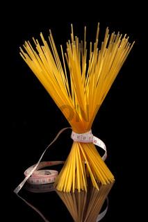 Italian pasta spaghetti over black