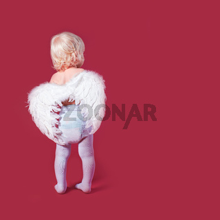 Toddler wearing angel white feather wings and stand back