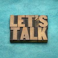 Let us talk invitation in wood type