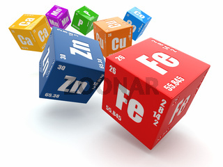 Concept of chemistry. Periodic table of element on cubes.