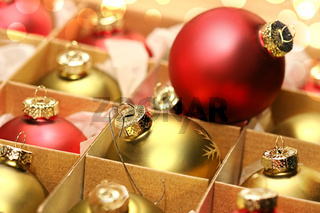 Collection of Christmas balls in box