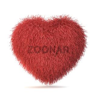 Red fur heart 3D