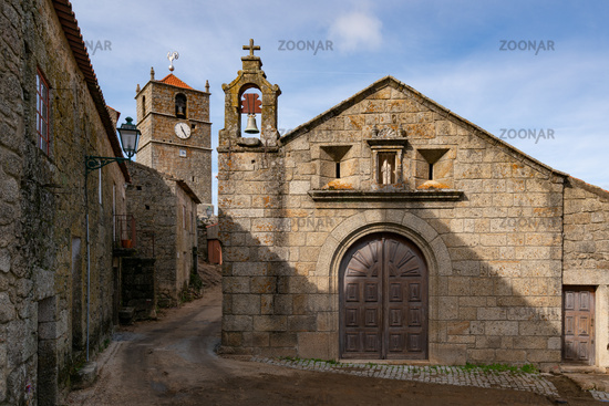 Monsanto historic village stone church and houses, in Portugal