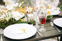 Food and drinks on banquet table