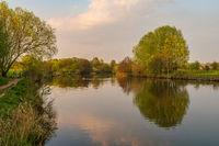 An evening walk at the River Ruhr in Oberhausen, North Rhine-Westphalia, Germany