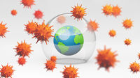 Earth under the dome. Vaccination concept. 3D Rendering