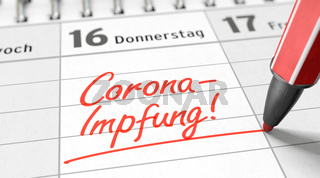 Impftermin für Corona-Impfung in den Kalender eintragen