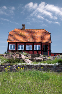 Red cottage house