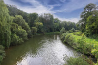 The River Kocher at Ernsbach, Hohenlohe, Baden-Württemberg, Germany, Europe.
