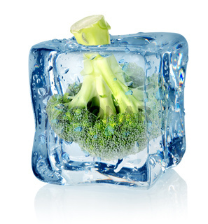 Broccoli in ice
