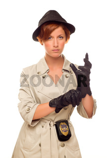 Female Detective With Badge and Gloves In Trench Coat on White