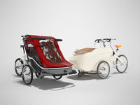 3D rendering set of an adult bicycle with stroller for children with boardcloth on gray background with shadow
