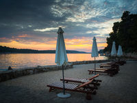 Beach of Rab in Croatia at sunset at channel of Eufemija