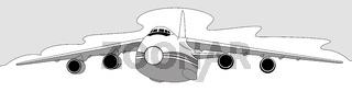 plane silhouette on white background, vector illustration