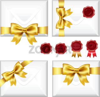 Set Of Envelopes With Golden Bow And Wax Seals