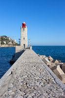 Phare de Nice Lighthouse on Mediterranean Sea