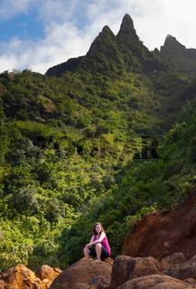 Girl hiking Kalalau trail in Kauai