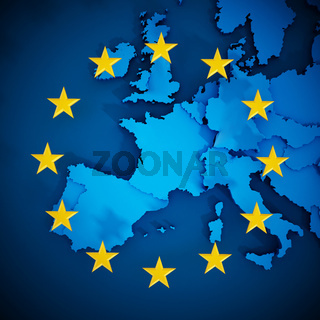 European Union map and aligned stars in circle shape forming a flag