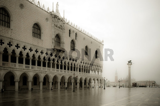 Doge's Palace in the mist, Venice, Italy