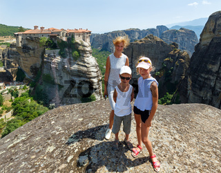 Meteora rocky monasteries and family