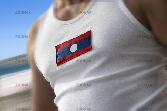 The national flag of Laos on the athlete's chest