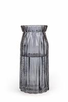 smoky gray glass vase isolated on white