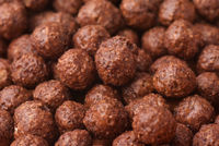 Close up of chocolate cereal balls