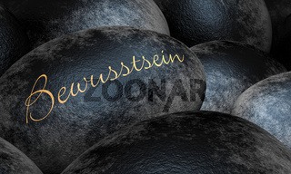 Schwarze Steine mit Text - Bewusstsein