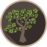 round logo or symbol with leaf tree