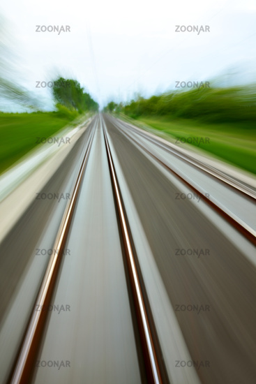 High speed blurred railway tracks