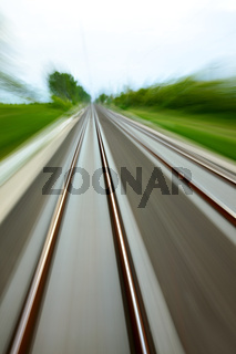 High speed blurred railway tracks