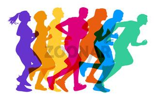 Viele Läufer als Jogging und Fitness Konzept