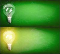 Lightbulb over green background