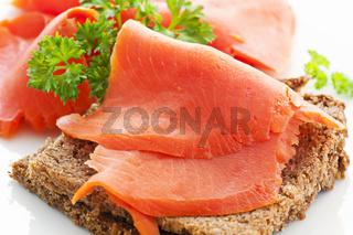 wild salmon slices on the bread