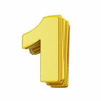 Yellow font Number 1 ONE 3D