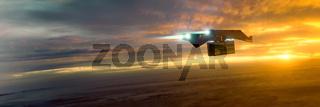 science fiction transporter at sunset mood