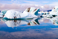 The ice floes reflected in the water