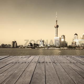 modern city with wooden floor