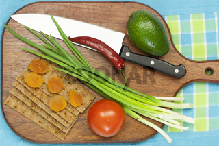 Background from crispy bread, vegetables and drie
