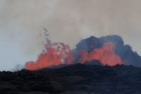 Aerial view of the eruption of the volcano Kilauea on Hawaii, in the picture Fissure7, May 2018