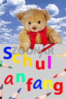 Teddy Bear on the shield to School