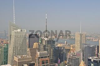 Panorama von der Aussichtsplattform Top of the Rock im Rockefeller Center nach downtown Manhattan, Manhattan, New York City, USA, Nordamerika, Amerika