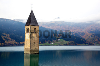 Tower of sunken church in Lago di Resia South Tyrol