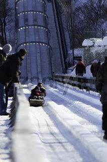 Winter ice slide in Quebec City, Canada
