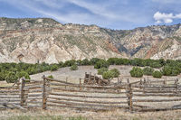 cattle corral in arid landscape of north western Colorado