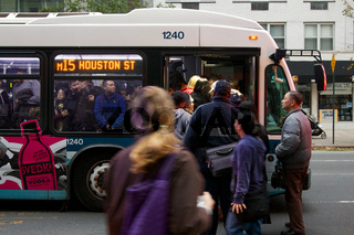 Overcrowded MTA Busses after Hurrcane Sandy