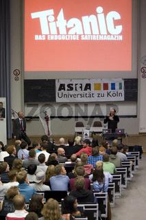 Mark Benecke und Martin Sonneborn im Wahlforum zur Bundestagswahl der Uni-Koeln