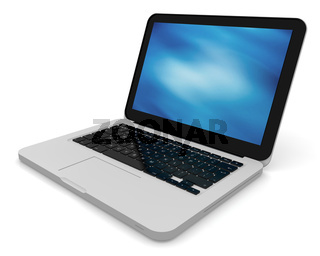 3D render of a silver unibody laptop with abstract blue screen