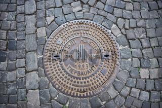 Kanaldeckel in Münster, Westfalen, Deutschland
