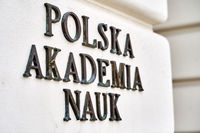 Warsaw, Poland, Nov 15, 2018: Plate of Polish Academy of Sciences on the Staszic Palace, the headquarters of the institution